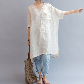 Linen Long Shirt - summer Women linen Loose Fitting Linen Long Shirt