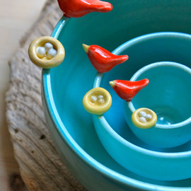 Tasha McKelvey - Custom-Made Pottery Bird & Nest Nesting Bowls