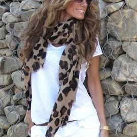 white & animal printed