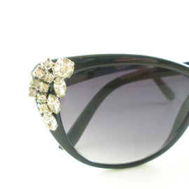 VINTAGE - Black Sunglasses with Vintage Rhinestone Accents, One of a Kind and Handmade
