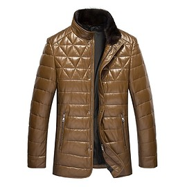 cwmalls - Cwmalls Mens Quilted Down Leather Jacket