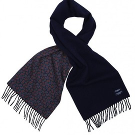 Drake's - Cashmere Ripple Finish Scarf Reversing to Real Ancient Madder Silk