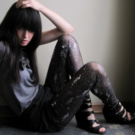 Minxshop - Cosmic leggings - sheer black embellished sequin and glitter - small