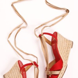 CHRISTIAN LOUBOUTIN - Christian Louboutin Red Canvas Isabelle Espadrilles
