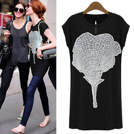 Floral Embroidery Lace Long Black Short Sleeve T Shirt