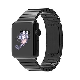 Apple - Apple Watch 38mm Space Black Case with Space Black Stainless Steel Link Bracelet