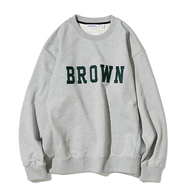 UNIFORM BRIDGE - vtg brown logo sweatshirts grey