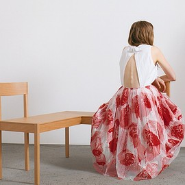 Comme des Garçons - White Ruffled Top, Red & White Tulle Overlay Skirt.