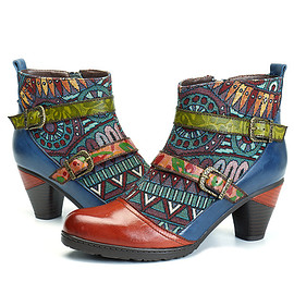 SOCOFY - SOCOFY Bohemian Splicing Pattern Block Buckle Ankle Leather Boots