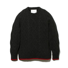 White Mountaineering - CABLE PATTERN ELBOW PATCHED ROUND NECK KNIT