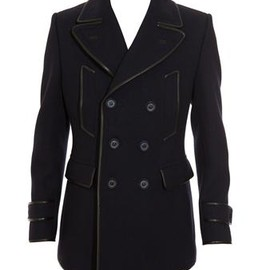 BURBERRY PRORSUM - Wool pea coat with leather trim