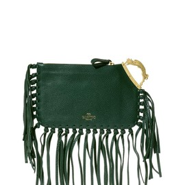 VALENTINO - SS2014 Griffon-handle fringed leather clutch