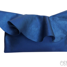 Ostara - Leather Ruffle Clutch Bag by Vicki