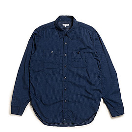 ENGINEERED GARMENTS - Work Shirt-Mini Polka Dot Lawn-Dk.Navy