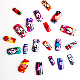 Nevertoomuchglitter - Mexican Sugar Skull Nail Tips