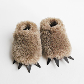 Eileen Renger Kundin - Baby Bear Slippers  - Fuzzy Mocha with Dark Claws