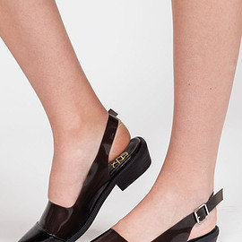 YES - black flat pointed sandal with transparent heel strap from YES WE ARE THE SHIT.