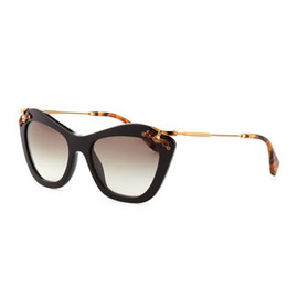 miu miu - Crystal-Temple Cat-Eye Sunglasses, Black
