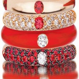 Red & Diamond Stack Ring