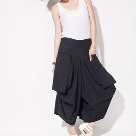 etsy - linen Asymmetric women divided skirts