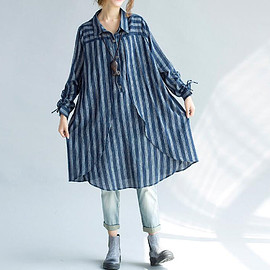 long shirt - women Loose fitting Long cotton shirt Blue shirt black shirt