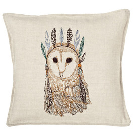Coral and Tusk - owl portrait pillow