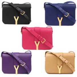 YSL Y-Mail Clutch in Black Patent Leather