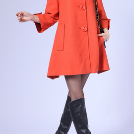 wool coat - Seven cents Sleeve Single breasted doll style wool coat