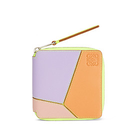 LOEWE - Puzzle Square Zip Wallet In Classic Calfskin Mauve/Soft Apricot - LOEWE