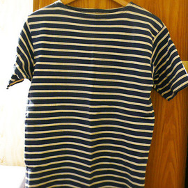 Marine indigo stripe short shirt