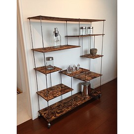 "wood iron shelf ""L wide"""