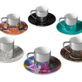 Damien Hirst - Box Set of 6 Mixed Anamorphic Cups and Saucers