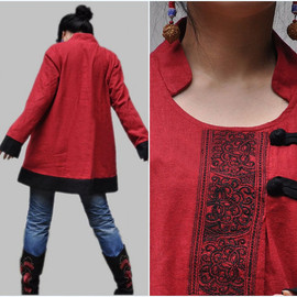 COAT - Red Coat/ asymmetric pullover Coat