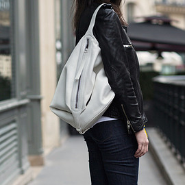 Micro textured-leather shoulder bag