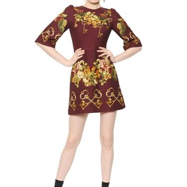 DOLCE&GABBANA - FW2014 KEYS & FLORAL WOOL & SILK GAZAR DRESS
