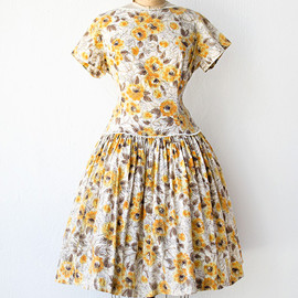vintage 1950s drop waist yellow floral dress