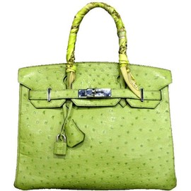 Hermes - Hermes 30cm Lime Green Ostrich Leather Birkin Bag