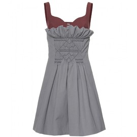 miu miu - TWO-TONE SMOCKED DRESS