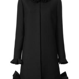 VALENTINO - silk and wool blend ruffle detail coat
