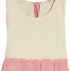 Miu Miu - Silk-trimmed cotton and linen-blend top
