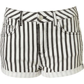 TOPSHOP/TOPMAN - Moto Black Denim Stripe Hotpants