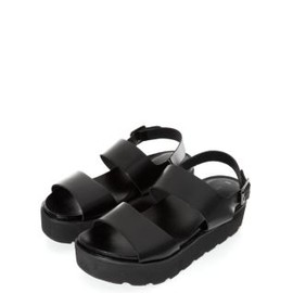 new look - Black Cleated Sole Strap Sandals