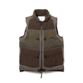 White Mountaineering - WINDSTOPPER MEMORY WEATHER MICRO PEACH LUGGAGE DOWN VEST