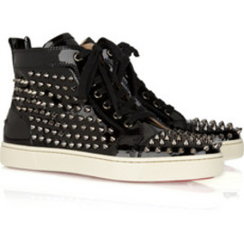 Christian Louboutin  - Louis studded patent-leather sneakers