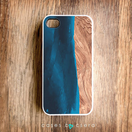 cases by csera - Unique iPhone Case, Wood iPhone 4 Case, White iPhone Cell Phone Case Blue Paint iPhone Case Abstract Case Artistic iPhone Case