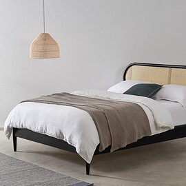 MADE - Reema Double Bed Black Stain&Cane