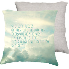 "18x18 cotton pillow ""she left pieces of her life"", typography, cloud photography, aqua home decor"