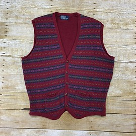 POLO RALPH LAUREN - Vintage Polo by Ralph Lauren Maroon Striped 5-Button Sweater Vest Mens Size Medium