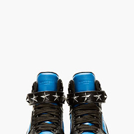 Givenchy - Blue & Black Leather High-Top Sneakers