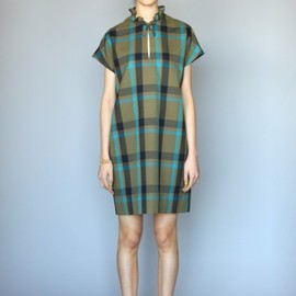 KAREN WALKER - Keyhole Shift in Tartan silk/wool crepe
